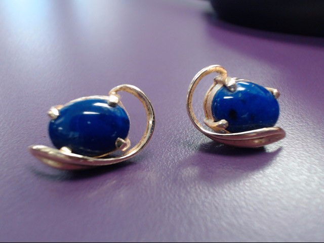 Lapis Gold-Stone Earrings 14K Yellow Gold 5.9g
