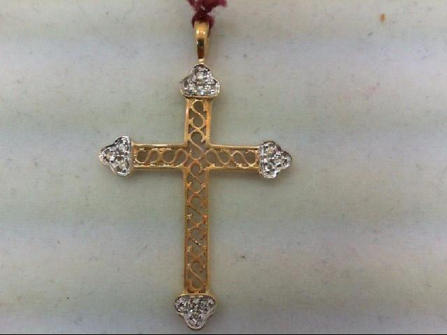Gold-Multi-Diamond Pendant 12 Diamonds 0.12 Carat T.W. 14K 2 Tone Gold 2.4g