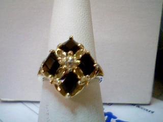 Black Stone Lady's Stone Ring 14K Yellow Gold 4.75g