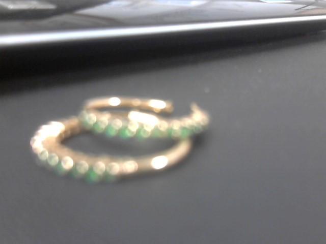 Emerald Gold-Stone Earrings 14K Yellow Gold 4.1g
