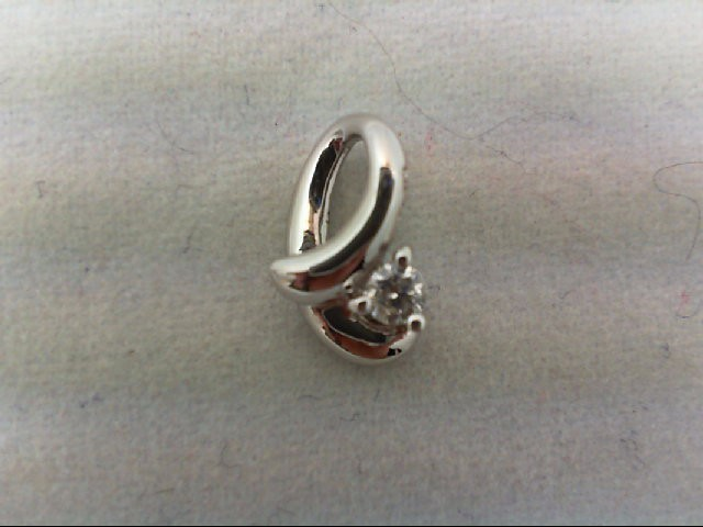 Gold-Diamond Solitaire Pendant .06 CT. 14K White Gold 0.5g