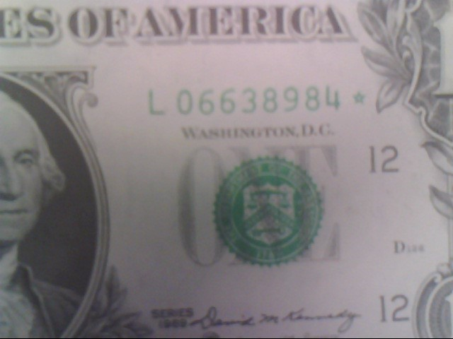 STAR NOTE 1969 ONE DOLLAR