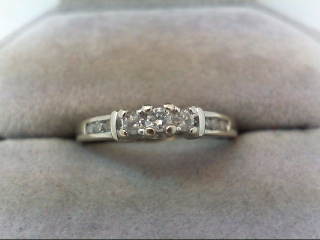 Lady's Gold-Diamond Anniversary Ring 9 Diamonds .26 Carat T.W. 10K White Gold
