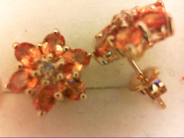 Citrine Gold-Diamond & Stone Earrings 2 Diamonds 0.02 Carat T.W. 10K Yellow Gold