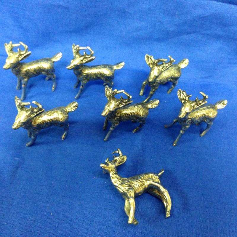 7 deer PEWTER FIGURINES  GEMINI GEMS VINTAGE 1970'S