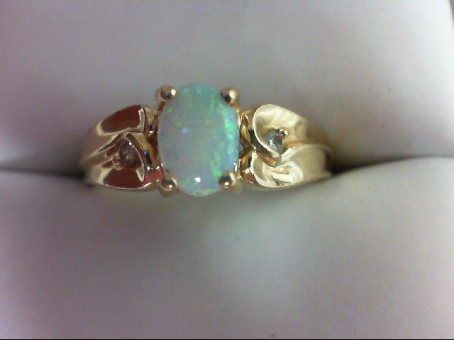 Opal Lady's Stone & Diamond Ring 2 Diamonds 0.06 Carat T.W. 14K Yellow Gold 3.8g