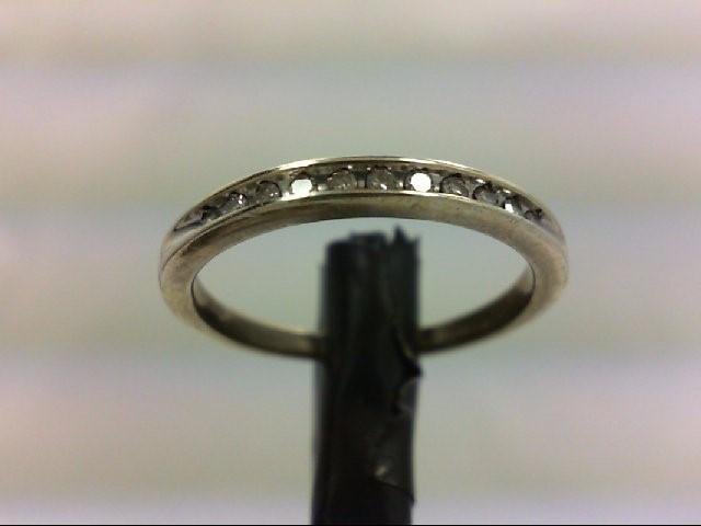 Lady's Silver-Diamond Ring 11 Diamonds 0.22 Carat T.W. 925 Silver 1.7g