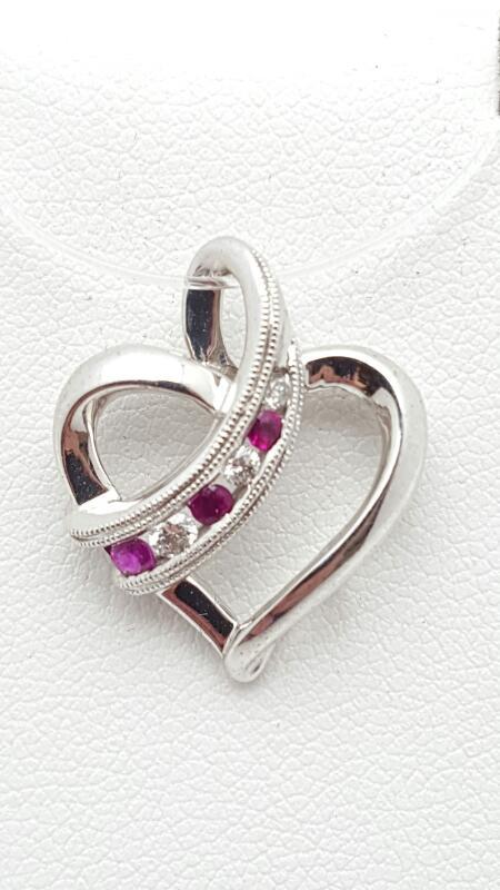 Rubies and Diamonds Pendant 3 Diamonds .12 Carat T.W. 14K White Gold