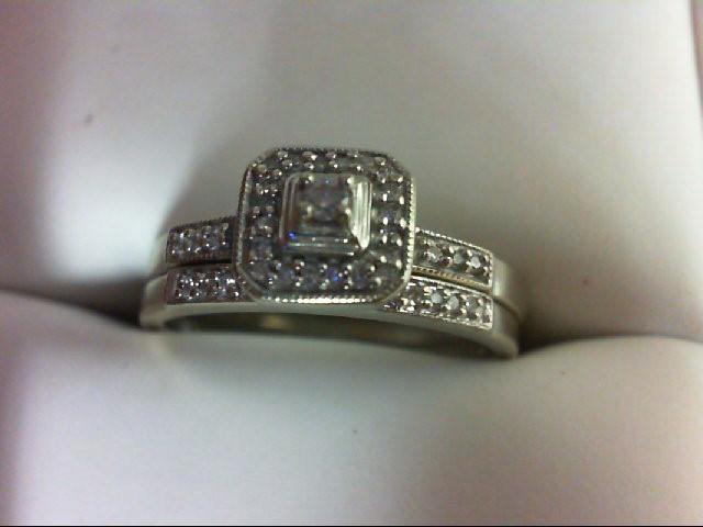 Lady's Diamond Wedding Set 0.03 CT. 10K White Gold 3.7g Size:8.5