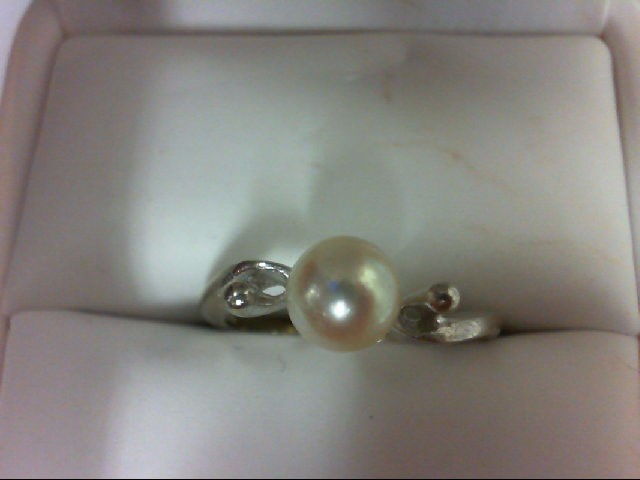 Pearl Lady's Stone Ring 14K Yellow Gold 2.4g Size:7