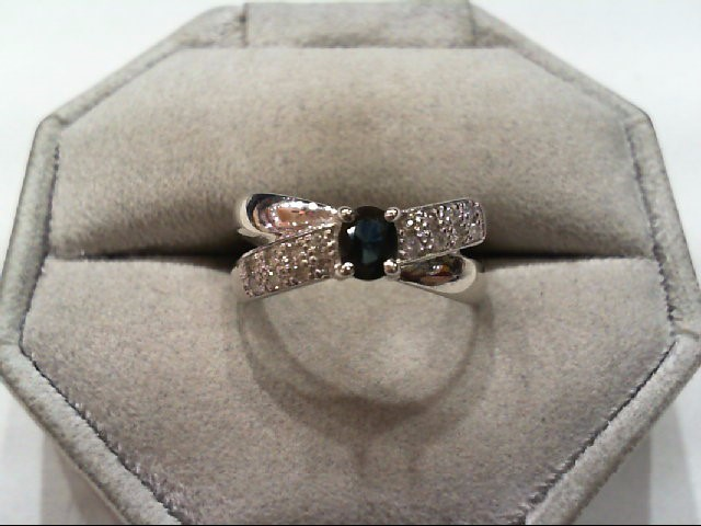 Sapphire Lady's Stone & Diamond Ring 16 Diamonds .16 Carat T.W. 10K White Gold