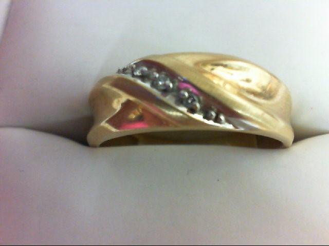 Lady's Diamond Wedding Band 3 Diamonds 0.03 Carat T.W. 10K Yellow Gold 3.6g