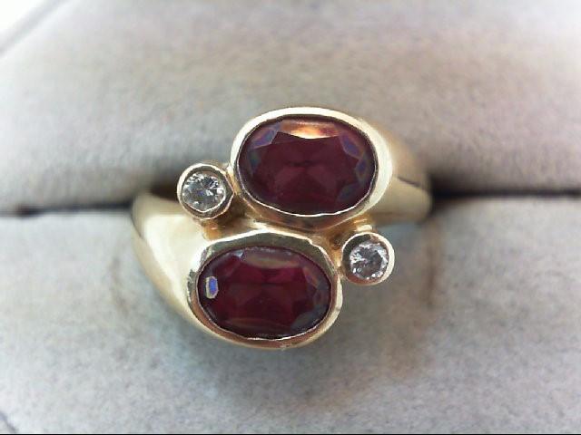 Lady's Diamond Fashion Ring 2 Diamonds .10 Carat T.W. 14K Yellow Gold 5.3g