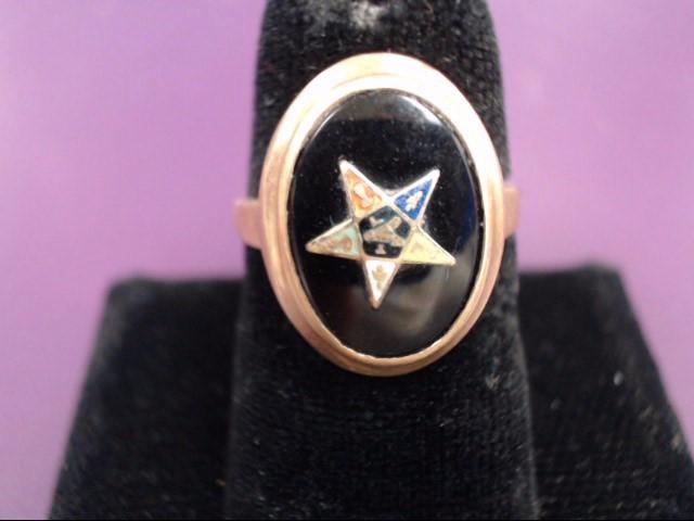 Black Onyx Eastern Star Lady's Ring 10K Yellow Gold 2.2g