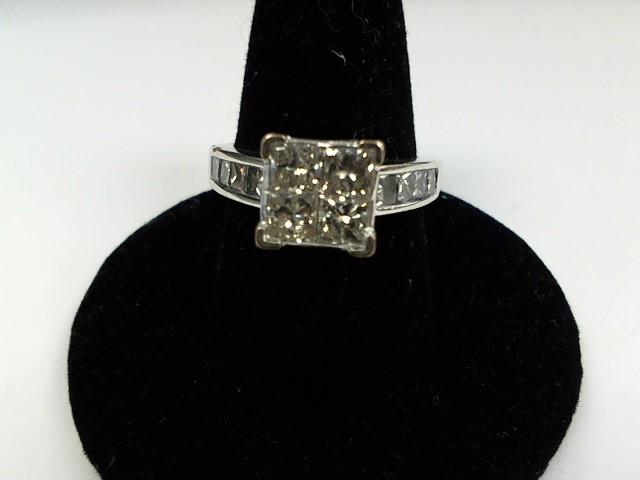 Lady's Diamond Engagement Ring 12 Diamonds 2.80 Carat T.W. 14K White Gold 6.1g