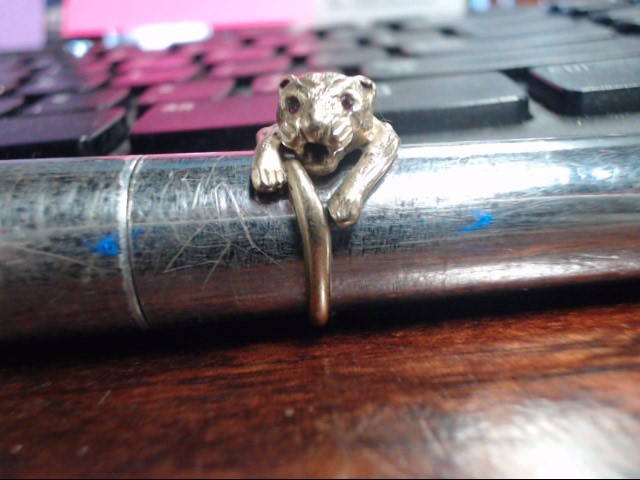 Red Stone Lady's Stone Ring 10K Yellow Gold 3.9g Size:5