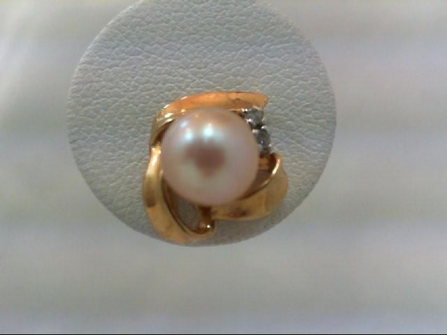Pearl Gold-Diamond & Stone Earrings 4 Diamonds .08 Carat T.W. 14K Yellow Gold