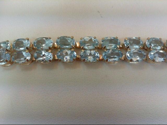 Blue Topaz Gold-Stone Bracelet 14K Yellow Gold 12.6g