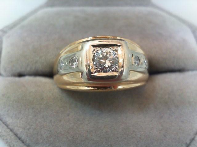 Gent's Gold-Diamond Wedding Band 5 Diamonds .62 Carat T.W. 14K Yellow Gold 6.5g