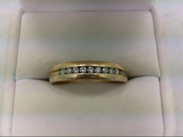 Gent's Gold-Diamond Wedding Band 9 Diamonds 0.27 Carat T.W. 10K Yellow Gold 5.1g