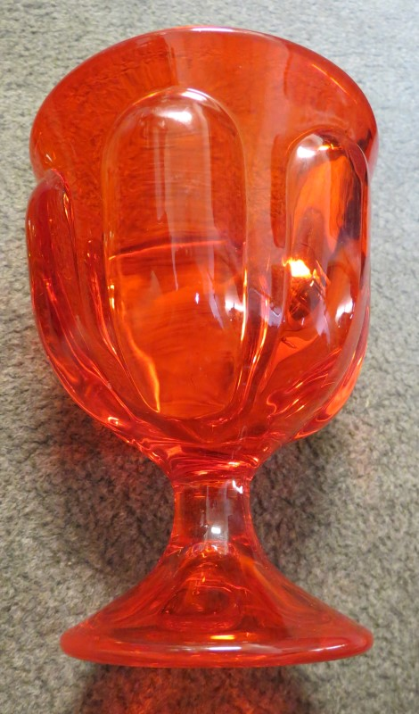 Antique Ameberina Glass Covered Dish Firey Orange/Red to Amber/Yellow