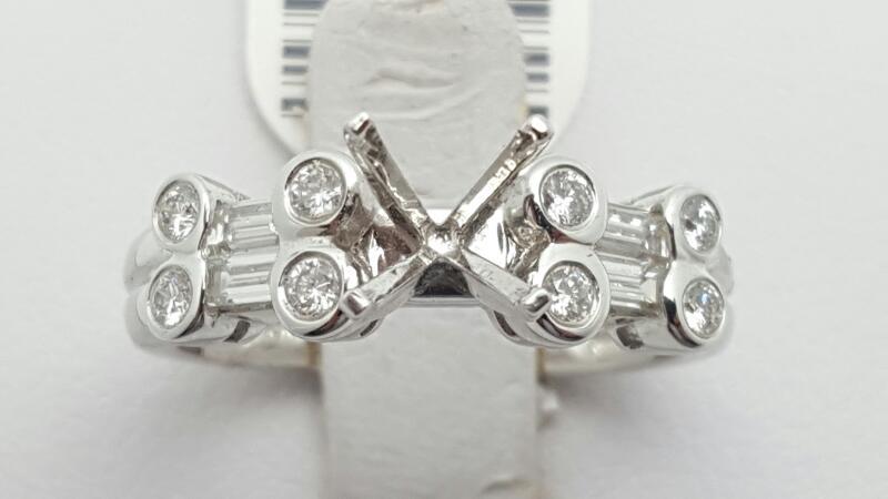 Lady's Diamond Engagement Ring 12 Diamonds .48 Carat T.W. 18K White Gold 4.5g