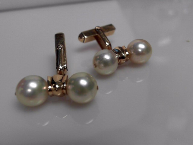 Pearl Cuff Links 14K Yellow Gold 7.91g