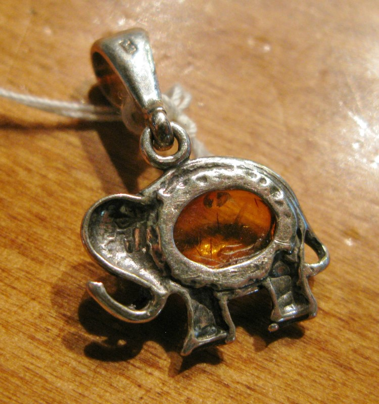 Amber Silver-Stone Elephant Pendant 925 Silver 1.4dwt