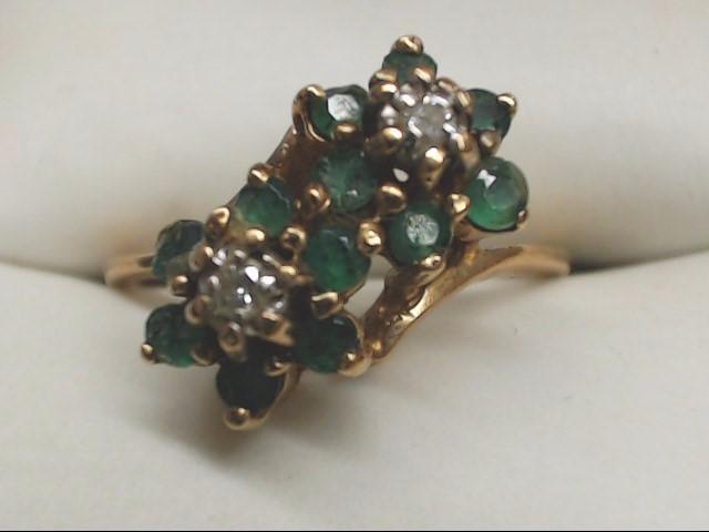 Green Stone Lady's Stone & Diamond Ring 2 Diamonds .06 Carat T.W.