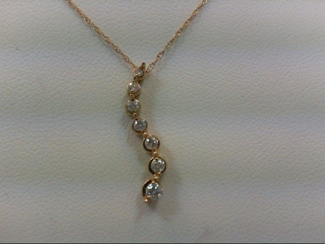 Gold-Multi-Diamond Pendant 7 Diamonds 0.17 Carat T.W. 10K Yellow Gold 1.2g