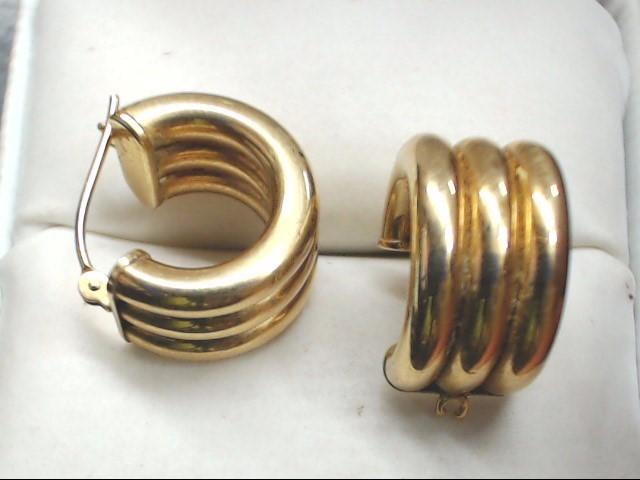 ESTATE HOOP HUGGIE EARRINGS SOLID 14K GOLD RIBBED SNAP LIGHT 2.1g