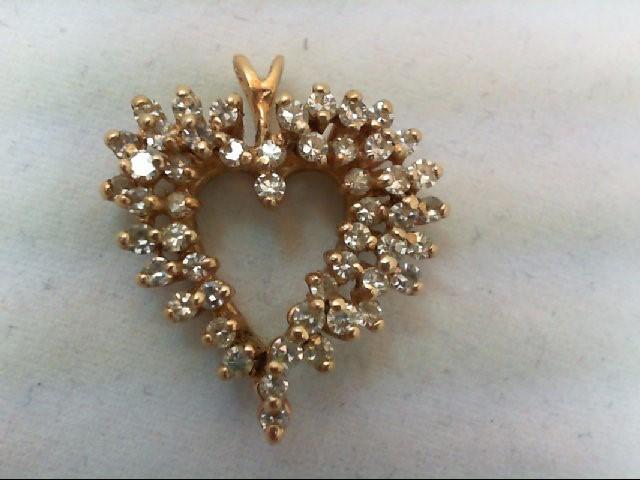 Gold-Multi-Diamond Pendant 49 Diamonds .98 Carat T.W. 14K Yellow Gold 3.4g