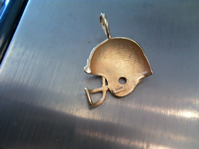 10K Yellow Gold University of Florida Gator Football Helmet Charm Pendant 3.19G