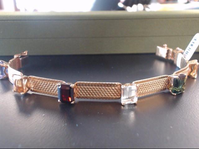 Synthetic Almandite Garnet Gold-Stone Bracelet 18K Yellow Gold 29.11g