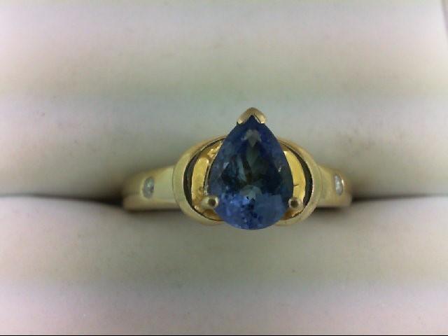 Tanzanite Lady's Stone & Diamond Ring 2 Diamonds 0.04 Carat T.W. 14K Yellow Gold