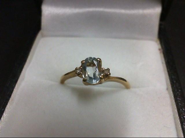 Synthetic Aquamarine Lady's Stone & Diamond Ring 2 Diamonds 0.02 Carat T.W. 10K