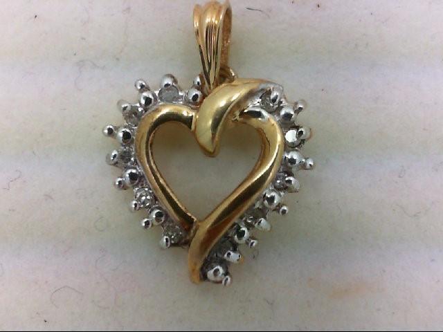 Gold-Multi-Diamond Pendant 10 Diamonds .10 Carat T.W. 10K Yellow Gold 1.1g