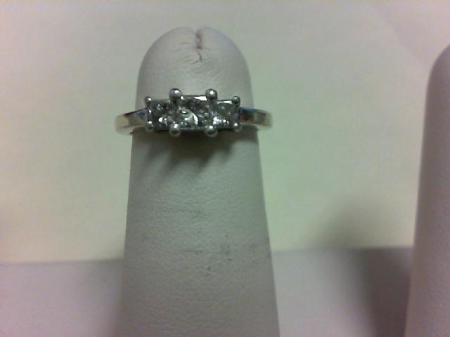 Lady's Diamond Engagement Ring 3 Diamonds .70 Carat T.W. 14K White Gold 3.3g