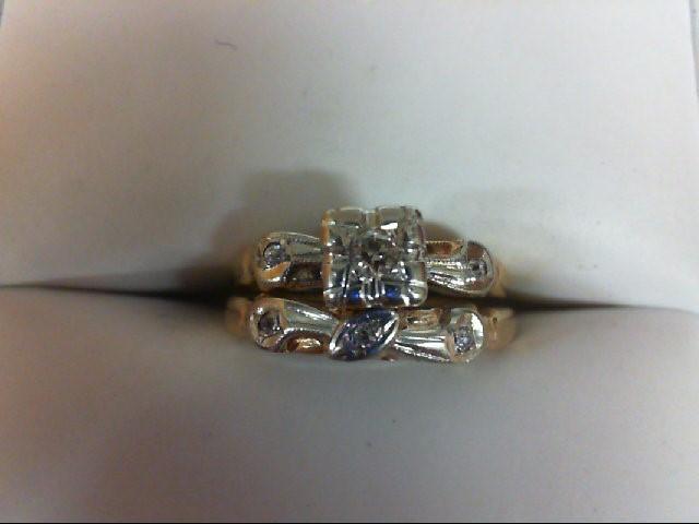 Lady's Diamond Wedding Set 6 Diamonds 0.11 Carat T.W. 14K Yellow Gold 2.3g Size: