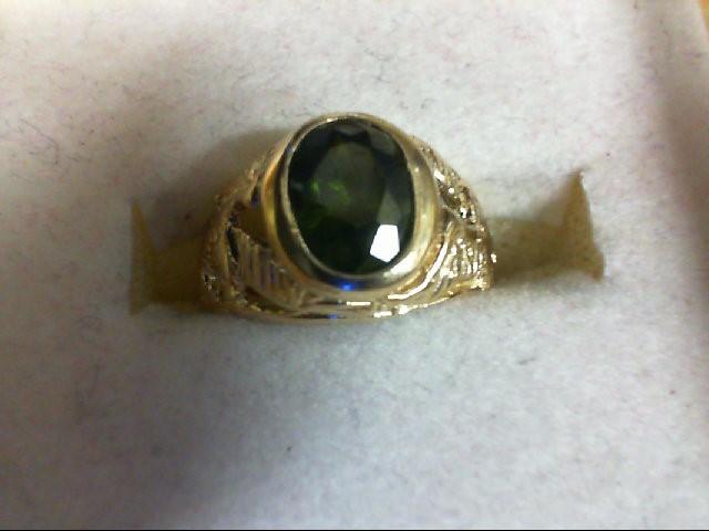Peridot Lady's Stone Ring 14K Yellow Gold 2.3g Size:2