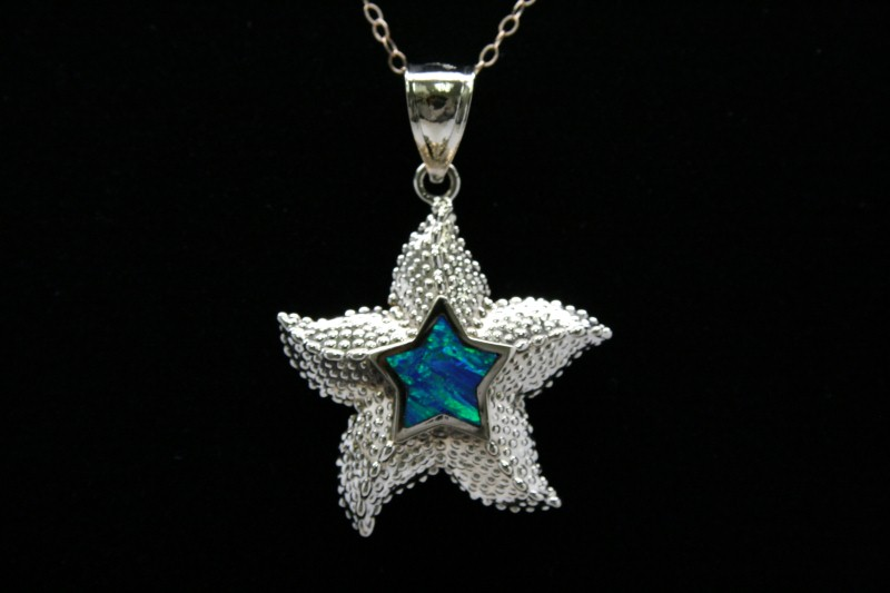 STAR SHAPE OPAL PENDANT 14K YELLOW GOLD