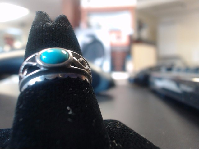 Turquoise Lady's Silver & Stone Ring 925 Silver 2.5g
