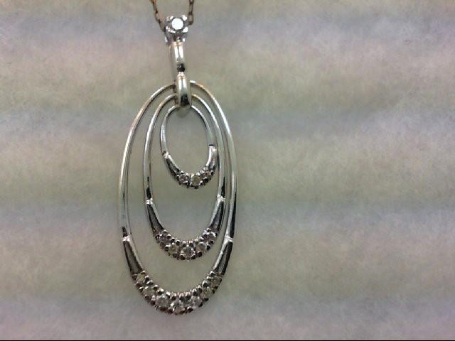 Gold-Multi-Diamond Pendant 16 Diamonds .35 Carat T.W. 14K White Gold 5.8g