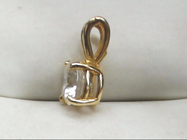 Synthetic Cubic Zirconia Gold-Stone Pendant 14K Yellow Gold 1.1g