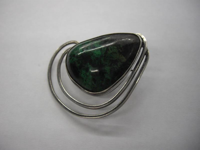 Teal Stone Silver-Stone Brooch 925 Silver 9.3g