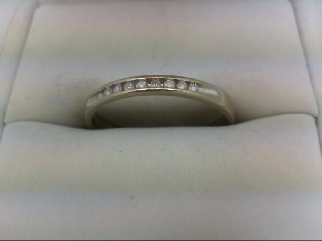 Lady's Diamond Wedding Band 9 Diamonds 0.18 Carat T.W. 10K White Gold 1.9g