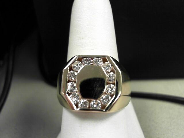 Gent's Diamond Fashion Ring 12 Diamonds 0.96 Carat T.W. 14K Yellow Gold 10.2g Si