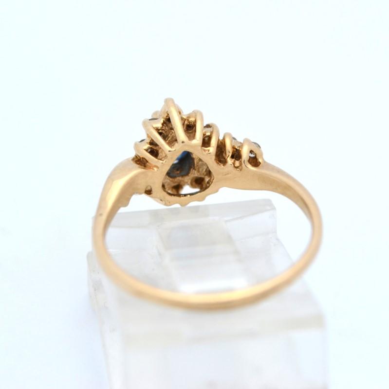 ESTATE BLUE SAPPHIRE DIAMOND SOLID 14K GOLD PEAR CUT DROP SIZE 6.5