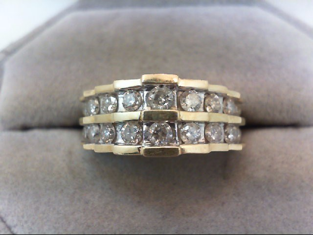 Lady's Diamond Cluster Ring 18 Diamonds 1.40 Carat T.W. 10K Yellow Gold 4.2g
