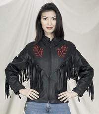 DEALER LEATHER LJ277-09-B-XS; LADIES LEATHER JACKET RED ROSE INLAY